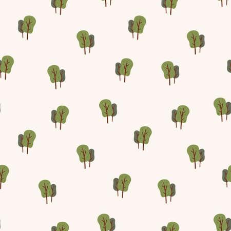 Vector illustration of doodle seamless pattern. Cartoon trees with a lush crown. Illusztráció