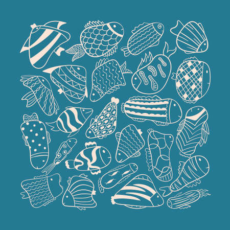 Vector doodle illustration. Cartoon fish on a blue background of different shapes, with patterns.