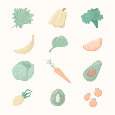 Vector illustration of a group of cartoon objects. Healthy food icons. Fruits, vegetables.