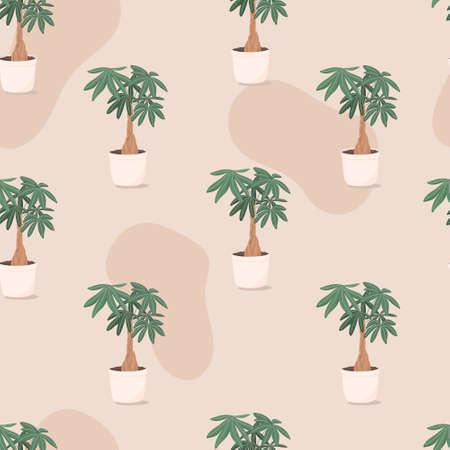 trendy illustration seamless pattern of home plant in a pot. Illusztráció