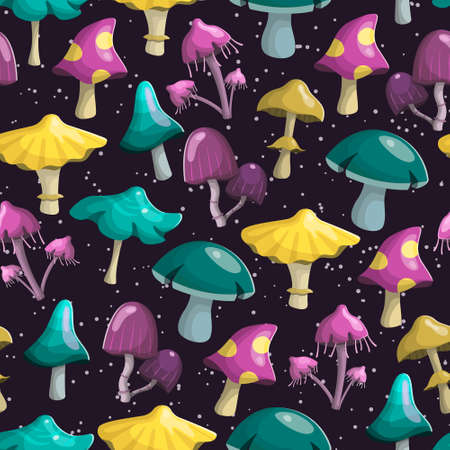 illustration seamless pattern. Magic fairy mushrooms of different shapes and colors. Background decoration.