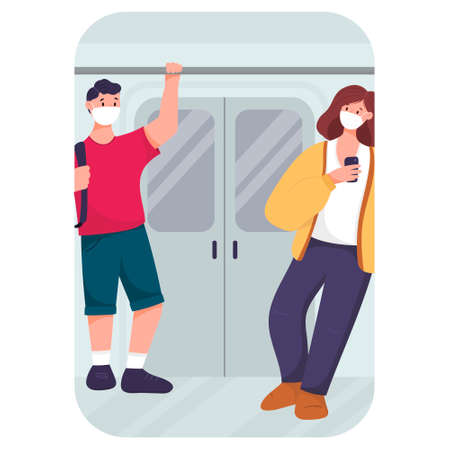 flat illustration. People in the subway during the pandemic wearing masks. Man and woman in transport. 矢量图像