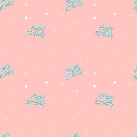 Vector illustration of cute seamless pattern, lettering birthday. Background decoration. Illusztráció