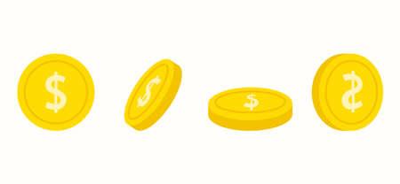 Cartoon gold coins from different sides with a dollar icon. Background on the theme of money.