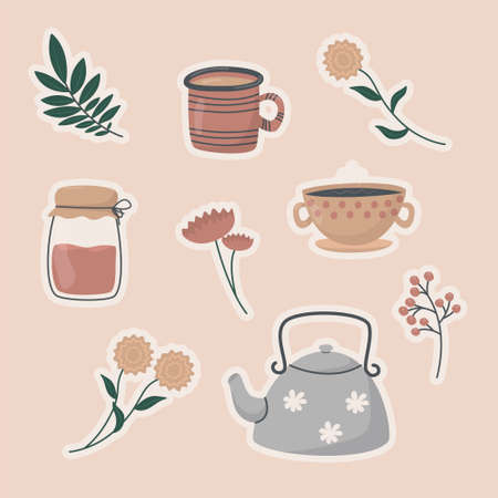 Vector illustration set of sticker icons. Cute doodle tea and coffee cups, teapot and glass jar, twigs with leaves and flowers. Background decoration.