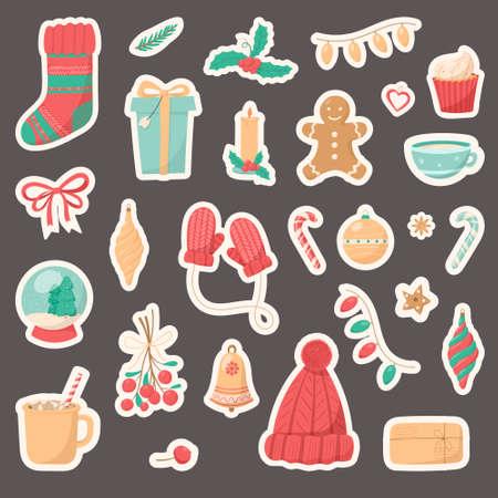 Big set of Christmas isolated icons on a white background. Winter holiday symbols. Illusztráció