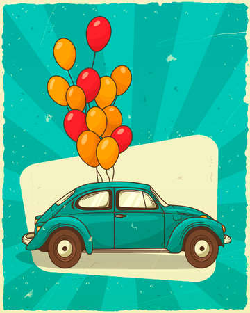 Vector vintage illustration. Gift card trendy retro car in profile with a bunch of balloons. Valentines day decoration.