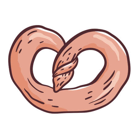 Vector doodle isolated illustration on white background. Cartoon roll or pretzel. Bread in sketch style.
