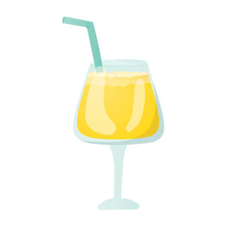 Alcoholic or non-alcoholic cocktail in a glass. Vector isolated illustration of a drink on a white background. Yellow pineapple juice with a drinking straw. Design element for bar or menu.