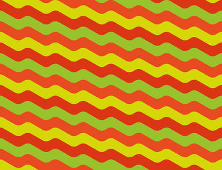 repetition row: Seamless abstract wavy pattern in bright orange yellow and red colors