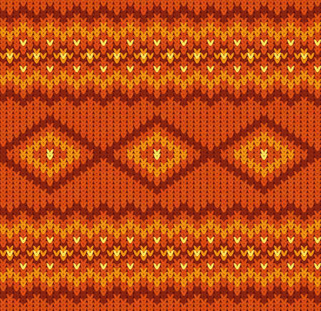 Knitted seamless pattern in red and orange colors