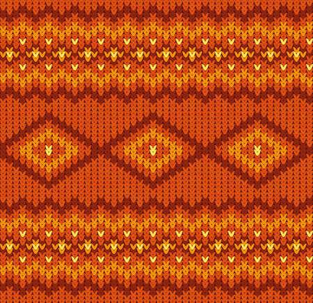 Gestrickte nahtlose Muster in rot und orange Farben Illustration