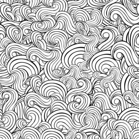 water waves: Seamless abstract hand-drawn waves pattern, wavy background Illustration