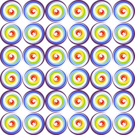 rainbow circle: Abstract seamless pattern with rainbow circle on white background