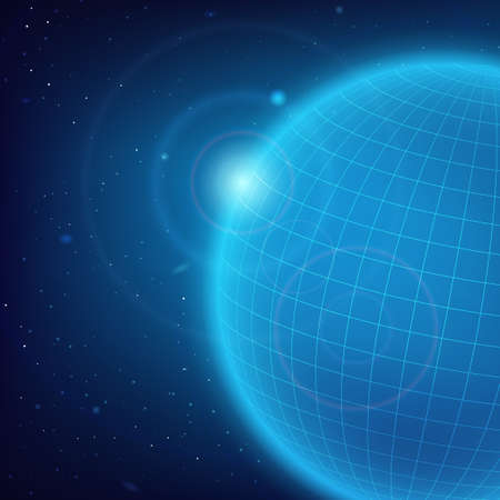 meridians: Space background with an abstract blue planet of meridians and parallels