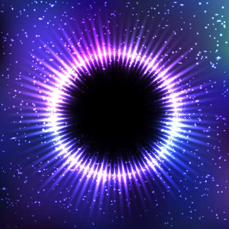 Background with shiny round frame. Black hole cosmic design 向量圖像