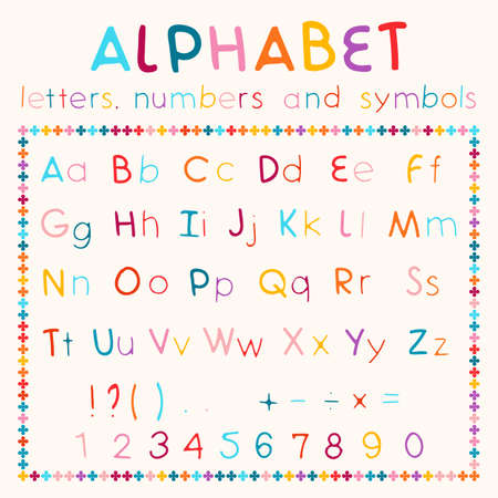 regular: Multicolored  alphabet, available all letters, numbers and  symbols. Regular font Illustration