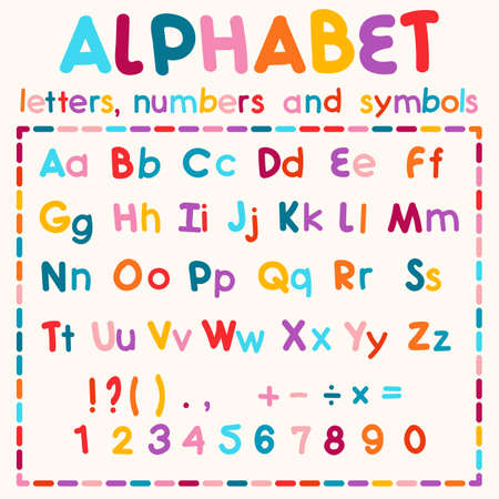 medium: Multicolored  alphabet, available all letters, numbers and  symbols, medium font