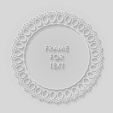 style geometric: Vector geometric frame with copy space for text in trendy mono line style. Elegant light relief frame on a light gray background Illustration