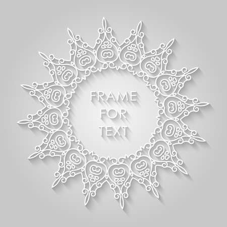 floral swirls: Vector geometric frame with copy space for text in trendy mono line style. Elegant light relief frame on a light gray background Illustration