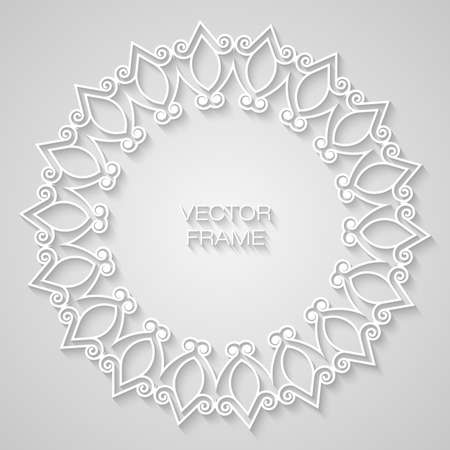 Vector geometric frame with copy space for text in trendy mono line style. Elegant light relief frame on a light gray background Illustration