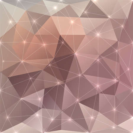 glaring: Abstract beige colored sunshine vector triangular geometric background with glaring lights
