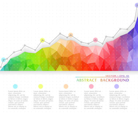 The growth curve of a triangular abstract colorful background