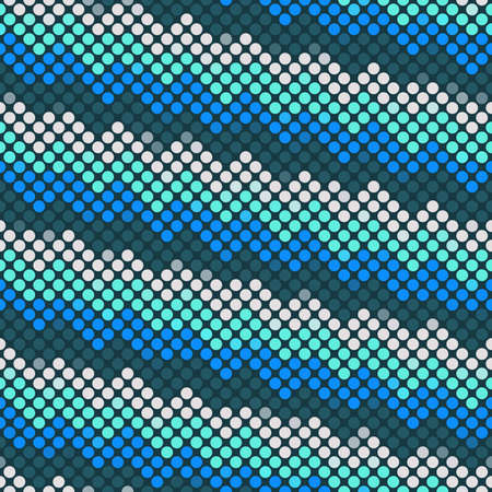endlessly: Wavy seamless abstract blue mosaic background