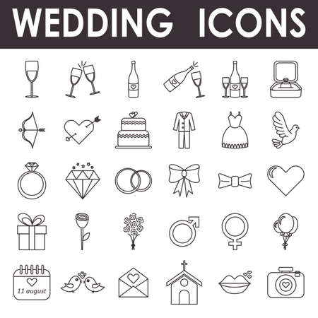 Wedding icons, simple and thin line design  イラスト・ベクター素材