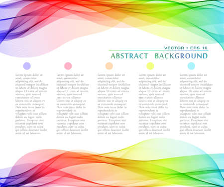 Vector abstract multicolor curved lines background. Template design  イラスト・ベクター素材