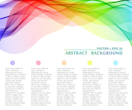 Vector abstract multicolor curved lines background. Template design Illustration
