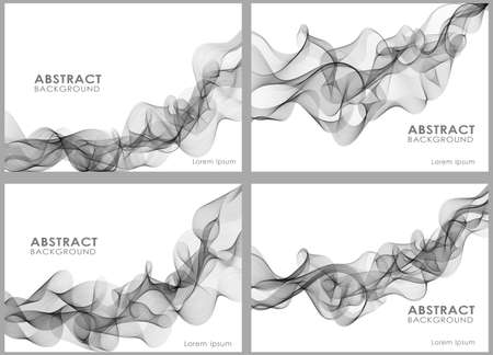 smoky: Vector Set of abstract wavy lines for design brochure and site. Smoky wave. Illustration