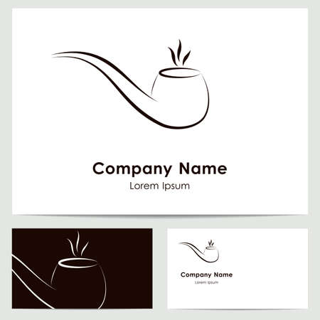 Business card template, abstract tobacco pipe Illustration