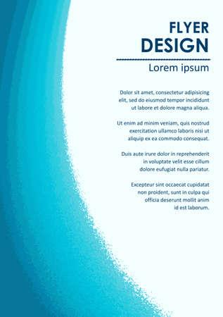 azul turqueza: plantilla de diseño de folletos con la imitación de las ondas de acuarela