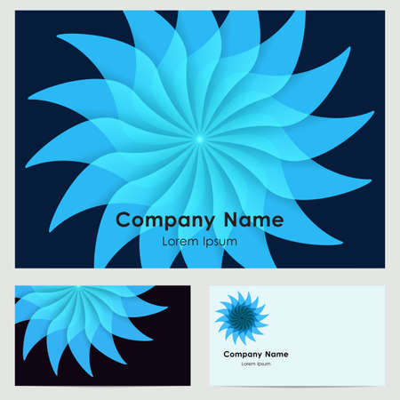 buisiness: buisiness card template with abstract blue flower