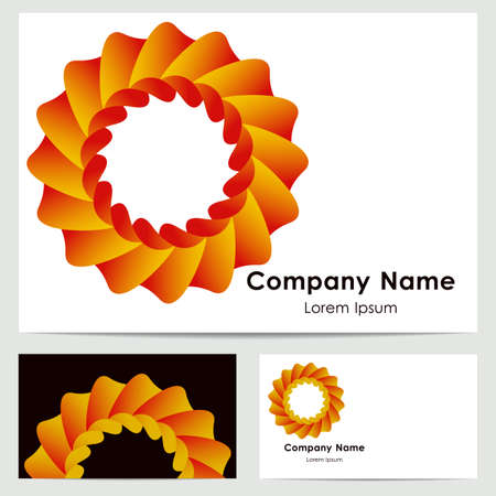 buisiness: Buisiness card template with abstract orange symbol