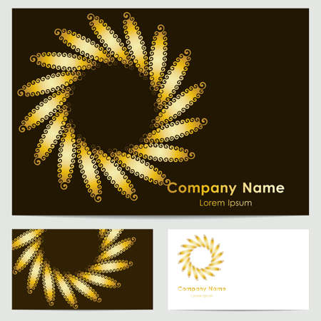 buisiness: buisiness card template with abstract golden flower