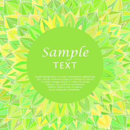 place for text: Green floral frame with place for text