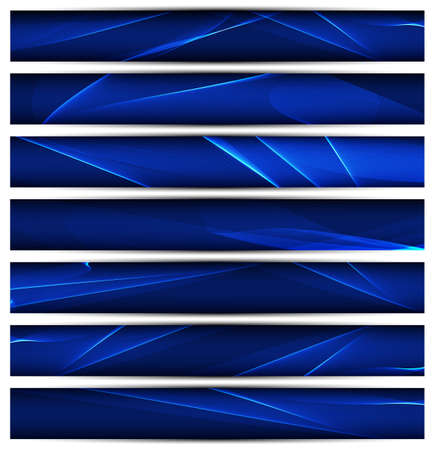 vector banners or headers: Set of  blue vector banners template or website headers with abstract wavy background