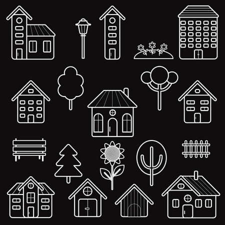 homestead: Home and exterior outline stroke symbol vector icons