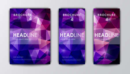 company background: Abstract vector modern  brochure design template. Bright purple polygonal background.