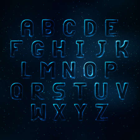 shine: Glowing cosmic neon font. Shiny capital letters latin alphabet Illustration