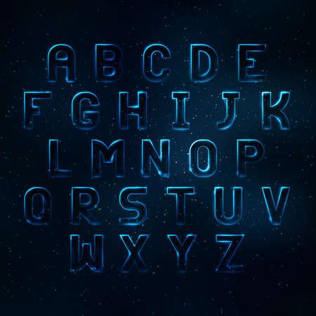 shine background: Glowing cosmic neon font. Shiny capital letters latin alphabet Illustration