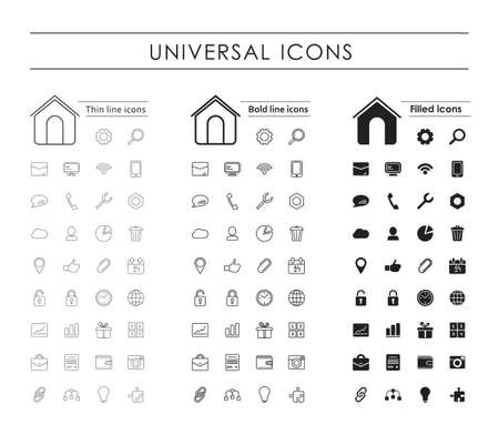 A set of 35 universal icons. Variants - a thin line, bold line, fill Illustration