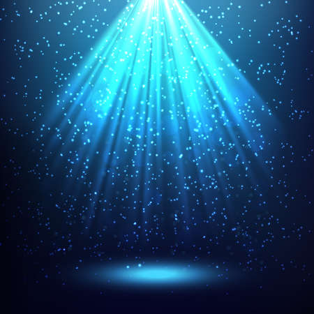 the light rays: Blue abstract background with rays of light coming down from the top down and a lot of stars Illustration