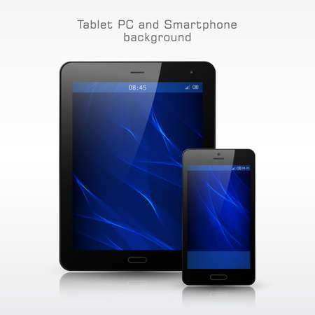 electronic organizer: Black Smartphone and Tablet PC mockup. Modern blue wavy background for smartphone and tablet