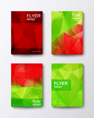 title page: Network design title page brochure or flyer from modern triangular backgrounds of red and green Illustration