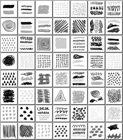 monocrome: Set of creative freehand cards. Hand Drawn monocrome textures isolated on white