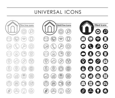 icon collection: A set of 35 round universal black icons. Variants - a thin line, bold line, fill Illustration