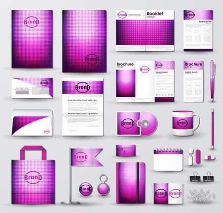 Corporate identity template set with bright pink halftone texture on blurred background. Business stationery mock-up. Branding design